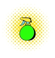 Green plastic spray bottle icon comics style vector image vector image