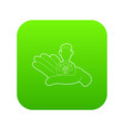 hand holding a candidate for the job icon green vector image