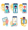 healthcare and technologies cartoon icons vector image vector image