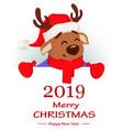 merry christmas cute deer wearing santa claus hat vector image vector image