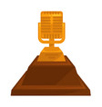 music award vintage golden microphone trophy with vector image
