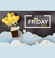 paper art of black friday balloon with vector image