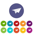Paper plane set icons vector image vector image