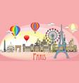 paris colorful line art 10 vector image vector image