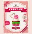 poster of confectionery bakery with cupcakes vector image vector image