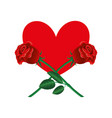 red heart and two roses vector image vector image