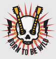 rock design with human skull bones and a vector image vector image