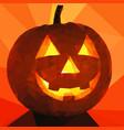 scary laughing burning orange pumpkin on vector image