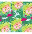 seamless flamingo bird pattern vector image vector image
