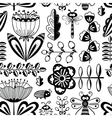 seamless pattern with flowers and insects vector image vector image