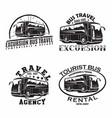 set bus travel company logo designs vector image vector image