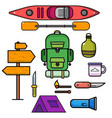 set flat design thin line hiking rafting vector image
