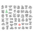 set of 50 black ink christmas and happy new year vector image vector image