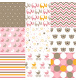 set of baby girl patterns seamless pattern vector image vector image