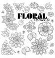 set of henna floral elements based on vector image