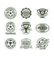 set of isolated soccer or european football signs vector image vector image
