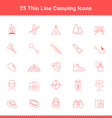 Set of Thin Line Stroke Camping Icons vector image