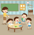 students and teacher in the event room vector image