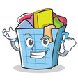 successful laundry basket character cartoon vector image vector image