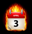 third april in calendar burning icon on black vector image vector image