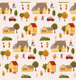 tiny people surrounded houses and trees vector image vector image