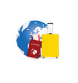 travel symbol passport and yellow bag with planet vector image