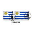 uruguayan or uruguay flag pattern postage stamp vector image