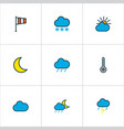 weather icons colored line set with raindrop vector image vector image