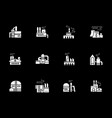 white glyph icons for industrial factories vector image vector image