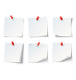 white paper notes on red thumbtack top view note vector image vector image