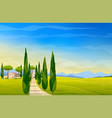 wide panorama rural countryside italy vector image