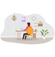 work at home woman working on laptop at home vector image vector image