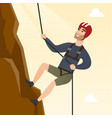 young caucasian man climbing a mountain with rope vector image vector image
