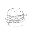 hamburger hand drawn sketch vector image