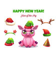 2019 year of the pig cute cartoon piglet vector image vector image