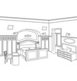 bedroom furniture room interior outline sketch vector image vector image
