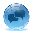 Blue abstract 3d talk icon vector image