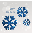 Blue snowflakes greeting card design template with vector image vector image