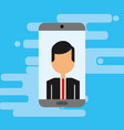 businessman with smartphone avatar character vector image vector image