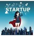businesswomen superhero flying fast for business vector image vector image