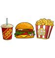 cartoon soda drink big hamburger and popcorn vector image vector image