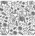 cat gives bouquet monochrome seamless pattern vector image