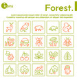 color linear icon set forest objects vector image