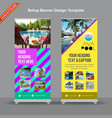 creative rollup banner in neon shades and vector image vector image