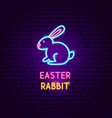 easter rabbit neon label vector image vector image