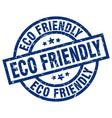 eco friendly blue round grunge stamp vector image