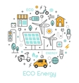 ECO Green Energy Thin Line Icons Set vector image vector image