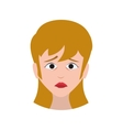 face sad woman expression cartoon icon vector image vector image