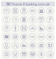 Finance and Banking Outline icon set Thin vector image vector image
