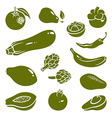 Fruits vegetables silhouettes 2 vector image vector image